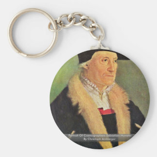 Portrait Of Cosmographers Sebastian Munster Basic Round Button Key Ring
