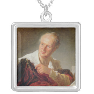 Portrait of Denis Diderot  c.1769 Silver Plated Necklace