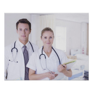 Portrait of doctor and nurse in hospital poster