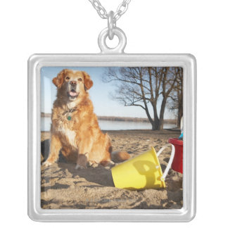 Portrait of dog at beach with sand toys, Ottawa, Square Pendant Necklace