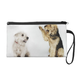 Portrait of dog waving at another dog wristlet clutch