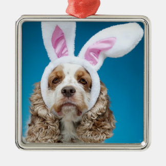 Portrait of dog wearing Easter bunny ears Christmas Ornament