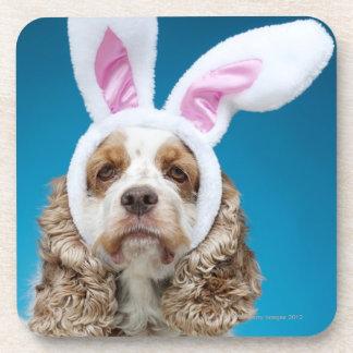 Portrait of dog wearing Easter bunny ears Coaster