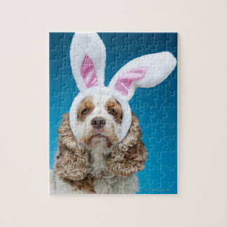 Portrait of dog wearing Easter bunny ears Jigsaw Puzzle