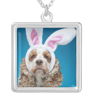 Portrait of dog wearing Easter bunny ears Silver Plated Necklace
