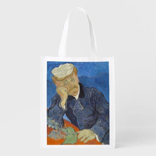 Portrait of Dr Gachet by Vincent Van Gogh Reusable Grocery Bag