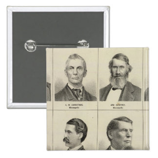 Portrait of Early Settler Bottineau, Minnesota 15 Cm Square Badge
