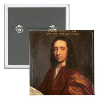 Portrait of Edmond Halley, c.1687 15 Cm Square Badge