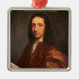 Portrait of Edmond Halley, c.1687 Silver-Colored Square Decoration