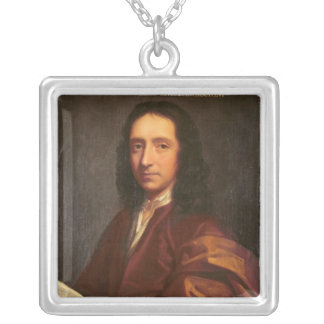 Portrait of Edmond Halley, c.1687 Silver Plated Necklace