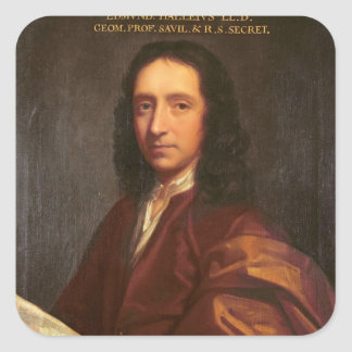 Portrait of Edmond Halley, c.1687 Square Sticker
