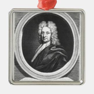 Portrait of Edmond Halley Silver-Colored Square Decoration