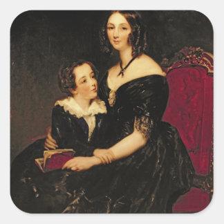 Portrait of Eliza Boardman and her son, Robert, 18 Square Sticker