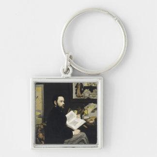 Portrait of Emile Zola  1868 Silver-Colored Square Key Ring