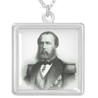 Portrait of Emperor Maximilian of Mexico, 1864 Silver Plated Necklace