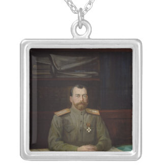 Portrait of Emperor Nicholas II, 1914 Silver Plated Necklace