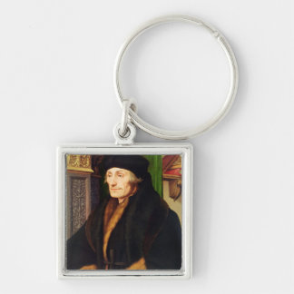 Portrait of Erasmus, 1523 Silver-Colored Square Key Ring