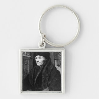 Portrait of Erasmus Silver-Colored Square Key Ring