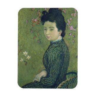 Portrait of Eva Meurier in a Green Dress Magnet