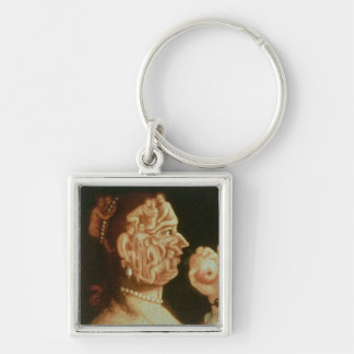 Portrait of Eve (oil) Silver-Colored Square Key Ring