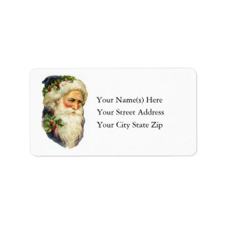 Portrait of Father Christmas Vintage Address Label