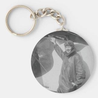 Portrait of Female Aviator Marjorie Stinson Basic Round Button Key Ring