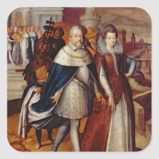 Portrait of Ferdinand I  and his Niece Square Sticker