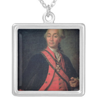 Portrait of Field Marshal Generalissimo Silver Plated Necklace