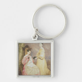 Portrait of Florence Nightingale  and her Silver-Colored Square Key Ring