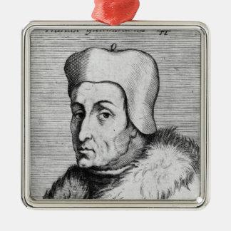 Portrait of Francesco Guicciardini Silver-Colored Square Decoration