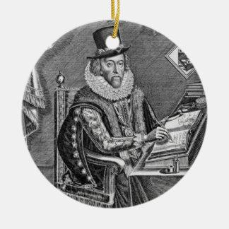 Portrait of Francis Bacon (1561-1626) Viscount of Round Ceramic Decoration