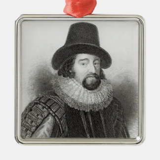Portrait of Francis Bacon Silver-Colored Square Decoration