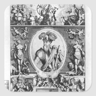 Portrait of Francisco Pizarro  with allegorical Square Sticker