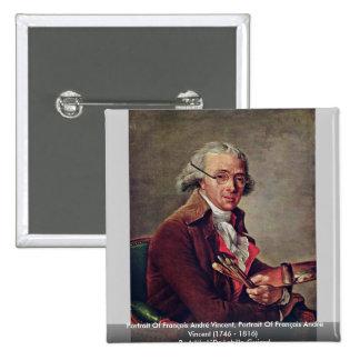 Portrait Of François André Vincent 15 Cm Square Badge