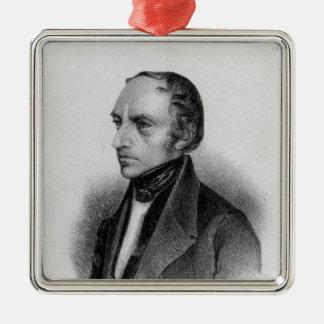 Portrait of Francois Guizot Silver-Colored Square Decoration