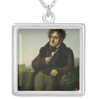Portrait of Francois Rene  Vicomte Silver Plated Necklace