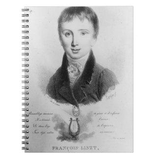 Portrait of Franz Liszt (1811-86) aged 11 (engravi Notebook