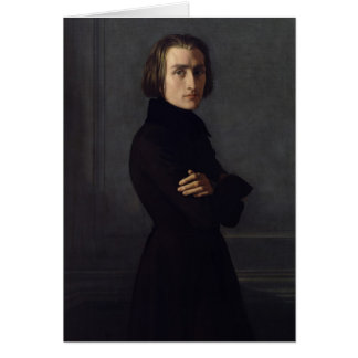 Portrait of Franz Liszt  1839 Greeting Card