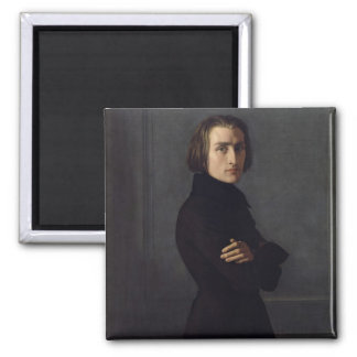 Portrait of Franz Liszt  1839 Square Magnet