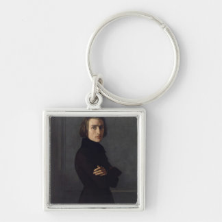 Portrait of Franz Liszt  1839 Silver-Colored Square Key Ring