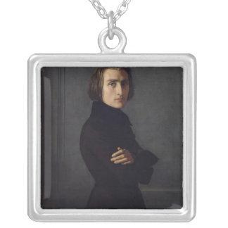 Portrait of Franz Liszt  1839 Square Pendant Necklace