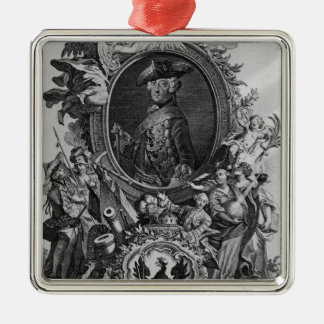 Portrait of Frederick II , engraved by Johann Silver-Colored Square Decoration