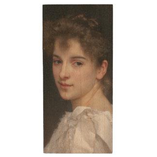 Portrait of Gabrielle Cot by William Bouguereau Wood USB 2.0 Flash Drive