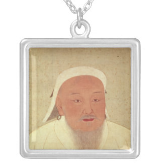 Portrait of Genghis Khan , Mongol Khan Silver Plated Necklace