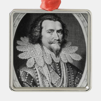 Portrait of George Villiers Silver-Colored Square Decoration