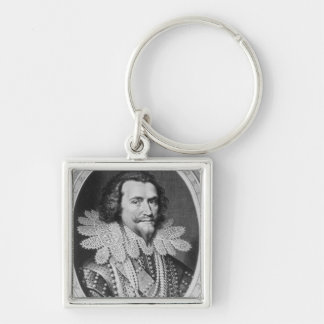 Portrait of George Villiers Silver-Colored Square Key Ring