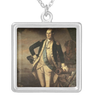 Portrait of George Washington, 1779 Silver Plated Necklace