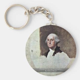 Portrait Of George Washington,  By Gilbert Stuart Basic Round Button Key Ring
