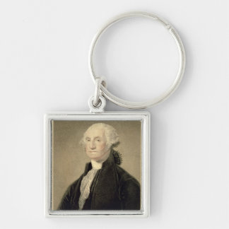 Portrait of George Washington, engraved by William Silver-Colored Square Key Ring
