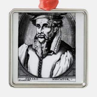 Portrait of Gerard Mercator Silver-Colored Square Decoration